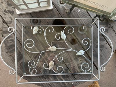 Metal and Glass Outdoor Serving Tray