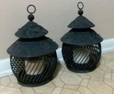 $15 (2) WROUGHT IRON HANGING LANTERNS......EXCELLENT CONDITION