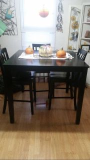 Pub style dining room table + 4 chairs
