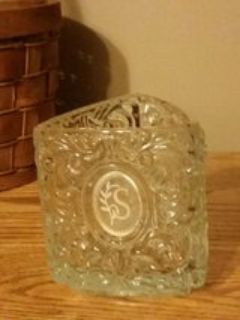 """AVON Vintage Heavy Crystal Triangle Monogrammed """"S"""" Candle Holder"""
