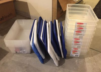 LOT: plastic shoeboxes 16 in total with lids