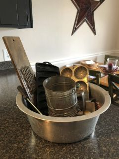 Vintage/Antique Metal Bowl with Vintage/Antique Kitchen Tools. Cross-Posted.