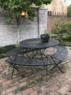 Large wrought Iron table w/4 benches