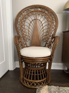 Antique Peacock Wood Chair