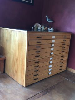 Flat file modified for wooden collector's cabinet