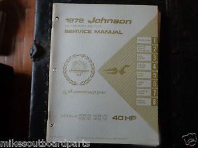 Sell 1972 JOHNSON SERVICE MANUAL 40 HP MOTORS @@@CHECK THIS OUT@@@ motorcycle in Atlanta, Georgia, United States, for US $14.99