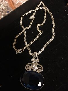 Sapphire and silver Pendant with silver chain