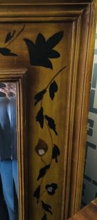 Large Antique Mirror with Hand-painted Frame