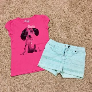 Girls Size 6 tee and jean shorts