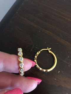 925 Sterling silver with gold overlay hoop earrings with diamond chip