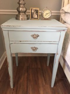 blue nightstand / table