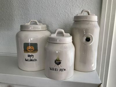MAGENTA RAE DUNN HALLOWEEN CANISTER SET HAPPY HALLOWEEN WITCHS BREW. ALL NEW! PRICE FOR SET OF 3!