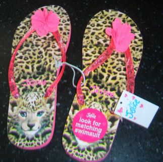 NEW Justice Womens Flip-Flops 8 / 9 Hot Pink Leopard