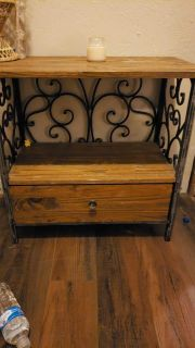 Wood and wrought iron end table