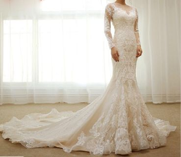 Victoria's Long Sleeve Mermaid Lace Wedding Gown