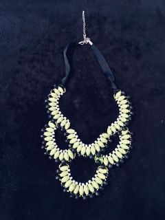 Statement necklace lime green black beads. Porch pick up Staples Mill 295.