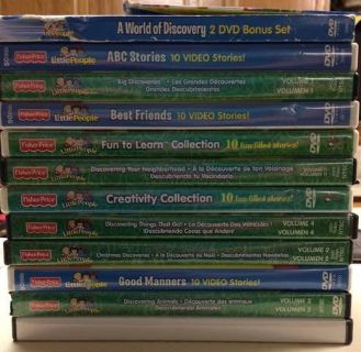 Set of 14 Kids DVDs Fisher Price Little People
