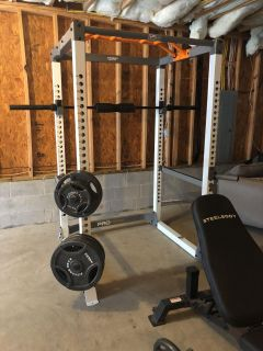 OBO Squat rack with weights and bench
