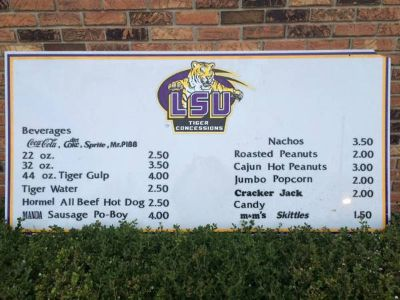 LSU-Old Alex Box Concession Menu Signs