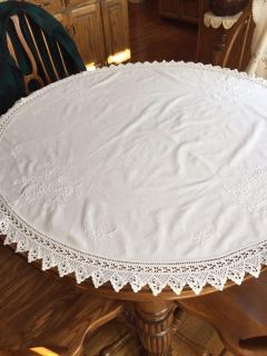 45 Vintage White on White Embroidered and Crocheted Tablecloth