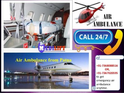 Air Ambulance Service in Patna by Medilift Best and Safe Air Ambulance in Patna