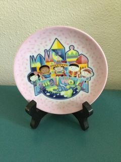 Disney It s a Small World Miniature Plate with Wooden Holder