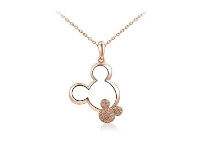 New Womens Mickey Mouse Double Drop Necklace in Rose Gold