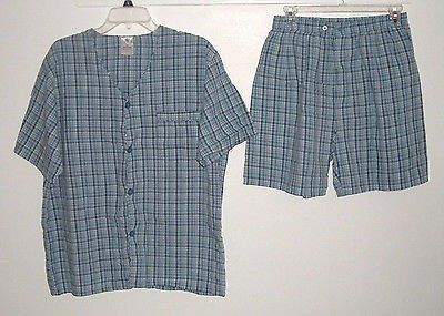 Covington Blue Plaid 2 Pc Pajama Set Medium Boxers Short S/S Button Down Shirt