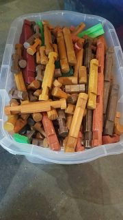 Big container of Lincoln logs