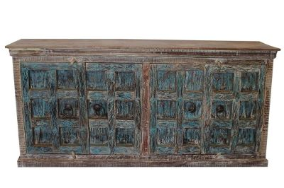 Rustic Old Door Buffet Distressed Blue Sideboard Antique Old Doors Console Chest