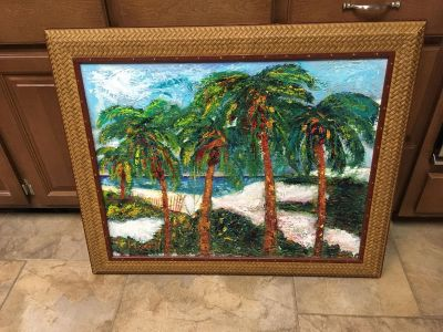 Painted palm tree framed picture