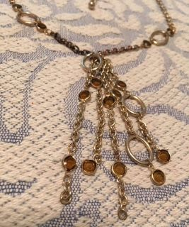 Vintage Necklace Gold Colored Chains with Topaz Crystals Interesting Sturdy Nice Extension