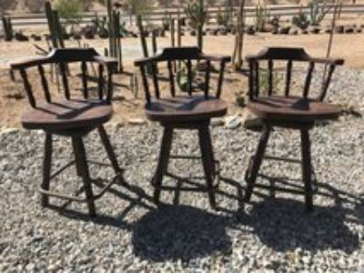 3 Awesome antique bar or saloon stools