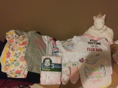 Brand new baby girl clothes and accessories