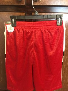 NWT boys red, black, and white bcg shorts L 14/16