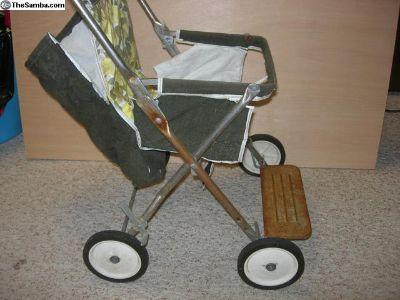 Vintage patina kids stroller prop display