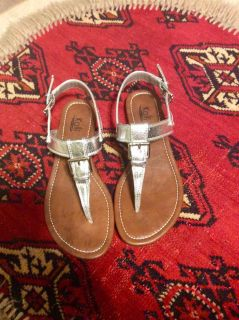 Silver flat Sandals with silver-tone buckles