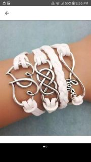 SUMMER SALE NEW White Hope Infinity Chain and Double Heart Leather Charm Bracelet