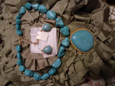Necklace and earrings.