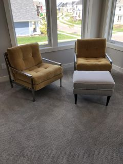 Gold Chairs & Ottoman