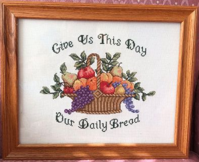 Framed cross stitched fruit basket