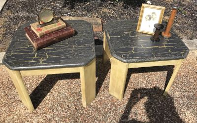 Pair of Gold and Grey Side Tables