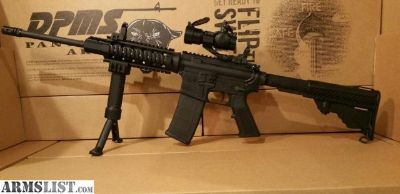 For Sale: DPMS AR 15 with Quad Rail, Flip Up Sights, Red Dot Sight, and Fore Grip Bi Pod