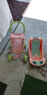 Bitty Baby Toy stroller and bath