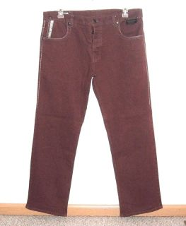 Parish BRICK RED Button Fly Classic Straight Leg Jeans Tag 40 Measures 38x32