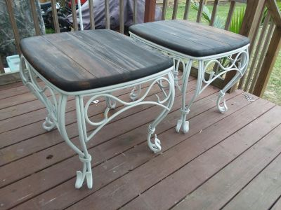Heavy duty set of refinished end tables