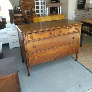 1940s Continental Furniture 4 Drawer Dresser on Wheels. Restained and Polished. 48x22x36