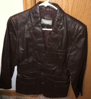 Brown Leather Coat-Size 10