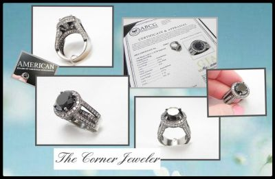 14K White Gold, with a touch of Black Rhodium Black Diamond , 9.12 TCW Engagement Ring