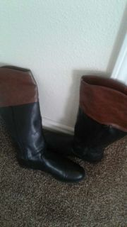 Black and brown leather boots